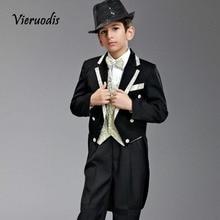 Custom Kid's Suits Flower Boys Groom Wedding Suits White Gold Lapel Black Suits white suits tpb
