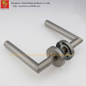 wholesale 10sets stainless steel door handle,entry front door lever handles,right angle tubehandle