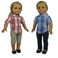 18 inch American Girl Doll Clothes of Leisure Style Plaid Shirt and Blue Jeans Trousers for American Girl Dolls