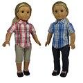 18 polegada Roupa Da Boneca American Girl do Estilo de Lazer Camisa Xadrez e Calça Jeans Calças para Bonecas American Girl
