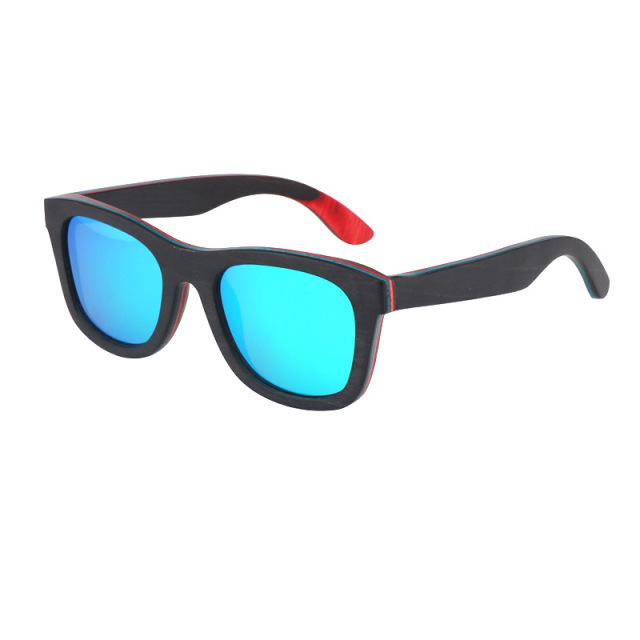 Wood Sunglasses For Men and Women Polarized Lens Skateboard Color Wood Sun glasses High Quality