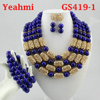 African jewelry sets Dubai Gold color big Nigerian jewelry sets Wholesale bridal bead wedding Jewelry set Women costume GS419 1