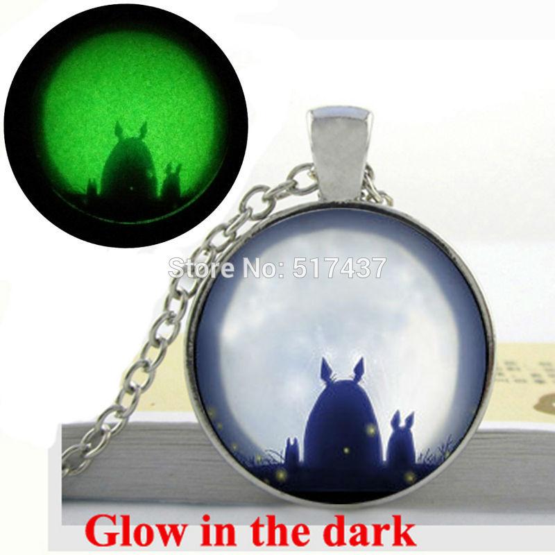 Glow in the Dark Necklace Studio Ghibli Totoro My neighbor Satsuki and Mei totoro necklace glass cabochon glowing jewelry