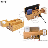 YRFF Multi Function Mobile Phone Holder For iPhone X 7 8 PLUS USB Charger Storage Universal Wood 2a Fast Charging Dock Stand