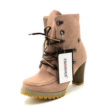 New Stylish High Qulity Ankle Boots for Women Brown Pink Light Green Women Boots Shoes Women Round Toe Winter Boots