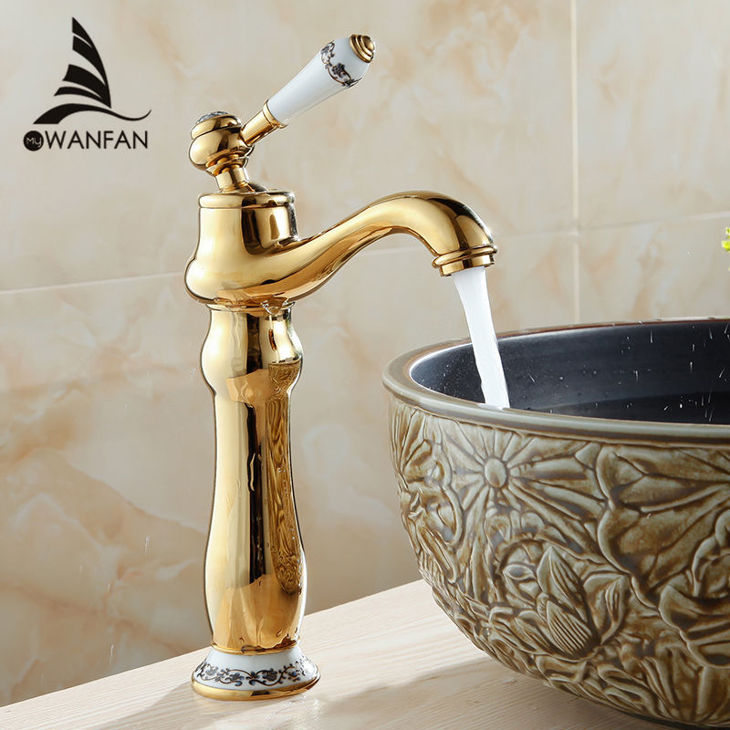 ФОТО Free shipping golden blue and white porcelain bathroom faucet, basin mixer Single handle hot and cold water AL-7318K