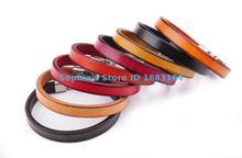 Multi Color Fashion Jewelry Mens High Quality Handmade Leather Band Wrap Slim Plain Leather Cuff Bracelet WholeSale Set