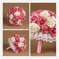 Гламурная Белый и Розовые Розы Искусственный Жемчуг Кружева Стороны Свадебный Свадебный Букет