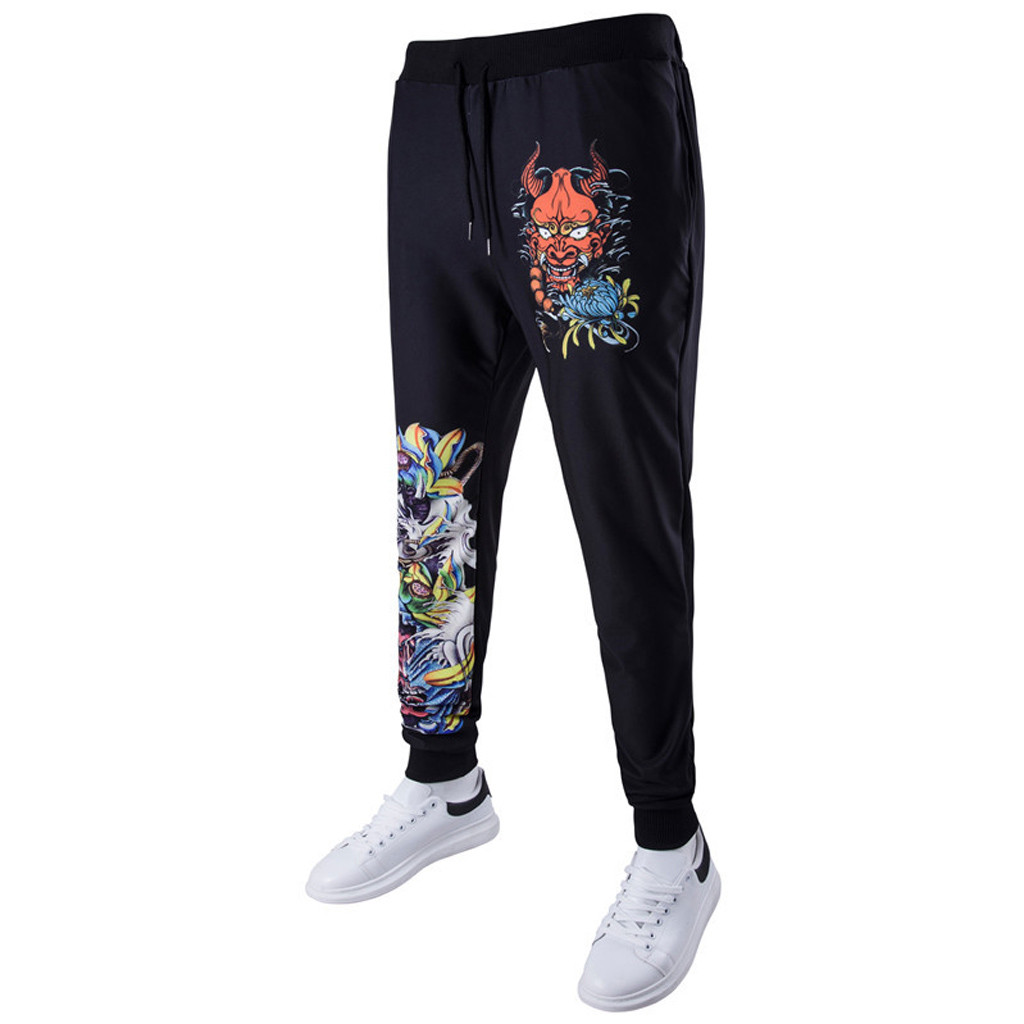 Cargo Pants Men Summer Trousers Harem Sweatpants Slacks Casual Jogger hip hop Sportwear Dragon Print Pants Men pantalon homme(China)