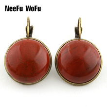 Drop Earrings Retro Multicolor Natural Stone Hot Sell Top Quality Big Stone Shell Ear clip For Women Jewelry Bijoux Best Gifts