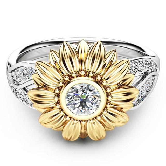 New Exquisite Women's Two Tone Silver Floral Ring Round Gold Sunflower Jewelry A