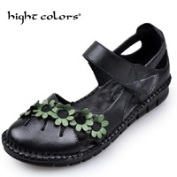 2018 Summer Mother Shoes Flat Sandals Women Genuine Leather Soft Bottom Mary Janes Fashion Sandals Comfortable