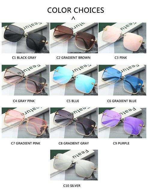 Gafas de sol cuadradas de abeja sin montura para mujer y hombre, anteojos de sol femeninos de gran tamaño con gradiente de abeja, con UV400, 2021 5