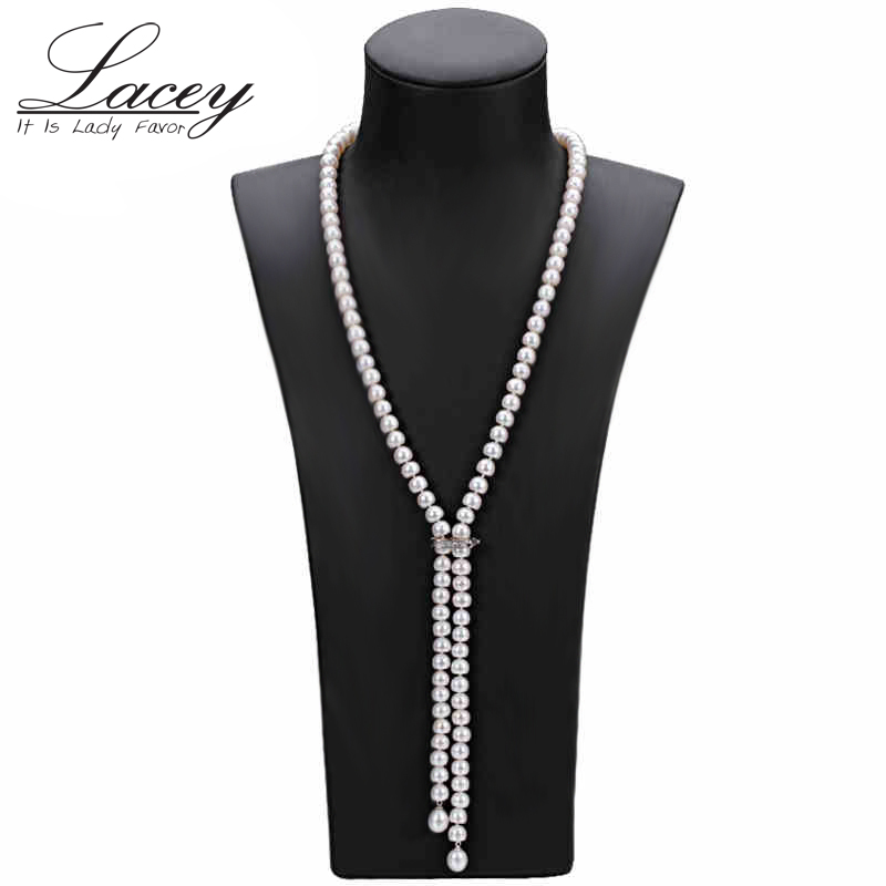 Cultured real long pearl necklace 100% genuine freshwater pearl necklace fashion jewelry for gift hot sale cloth accessories
