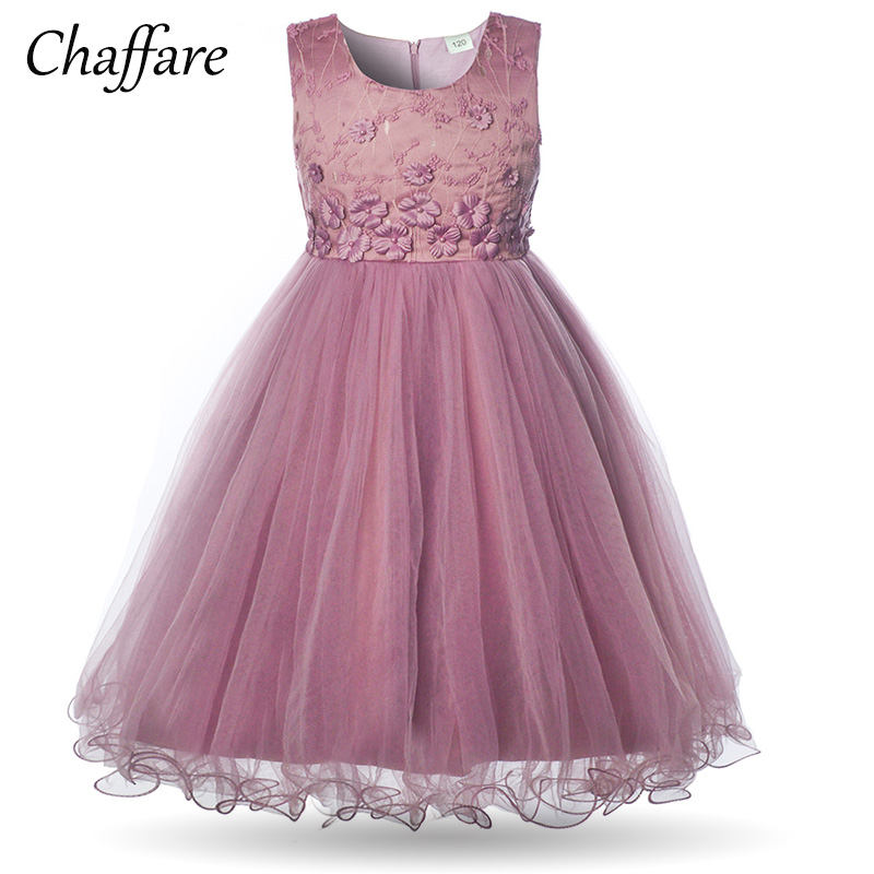 Chaffare Girls Flower Dress 2018 Summer Kids Ball Gown Princess Dresses Children Wedding Party Dress Elegant Birthday Frocks new arrival fashion summer girls kids sleeveless flower dress elegant sweet children girls knee length ball gown dress