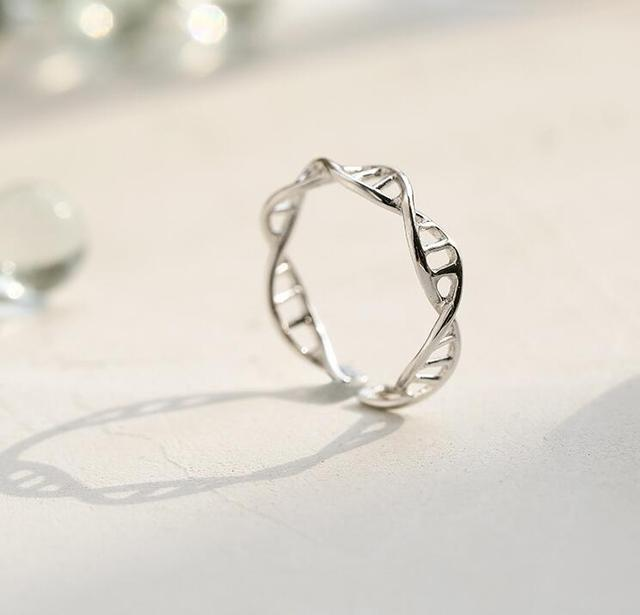 Oly2u Ring Silver Adjustable Women DNA Chemistry Molecule Rings Double Helix Rin