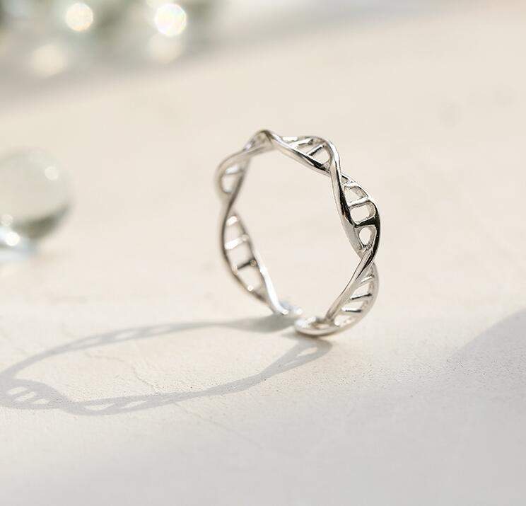 yiustar New Fashion Adjustable Women  DNA ring Chemistry Molecule rings Double Helix Ring Minimalist SYJZ080