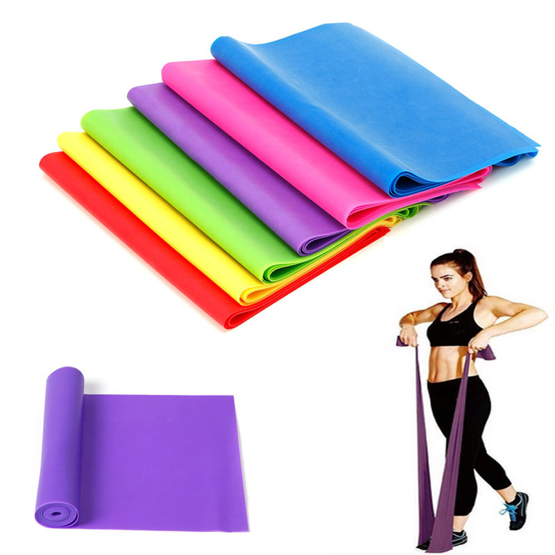 Outad Sports Yoga 1.2m Length Elastic Yoga Pilates Rubber Stretch Exercise Band Arm Back Leg Fitness 0.35mm Thickness Sports & Entertainment