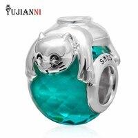 925 Sterling Silber Navy-Blaue Glasperlen mit Silber Glückliche Katze Charm Passend Europäische Pandora Armband & Halskette Schmuck
