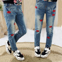 2015 fashion children pants high quality thick winter warm cashmere girls jeans kids trousers size 4Y-14Y retail