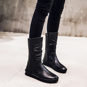Image 4 - GKTINOO 2020 Womens Boots Autumn Leather Handmade Retro Flat Boots Flat Shoes Genuine Leather Boots for Women