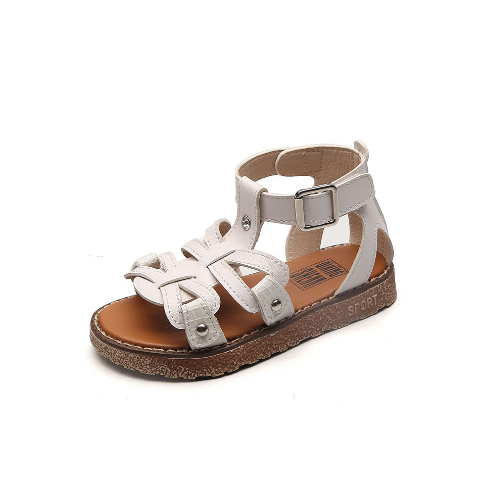 MSMAX Children Shoes Gladiator Flats Buckle Strap Cut Outs Girls Sandals Pu  Leather Kids Dress Causal Summer Beach Shoes-in Sandals from Mother   Kids  on ... 770a148da17e