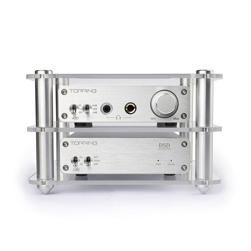 TOPPING A30 + D30 Cuffia Amplificatore di Potenza + Decoder Set Supporto DAC DAC USB/Fibra Ottica/Coassiale Decodifica XMOS + TPA6120 Argento Nuovo