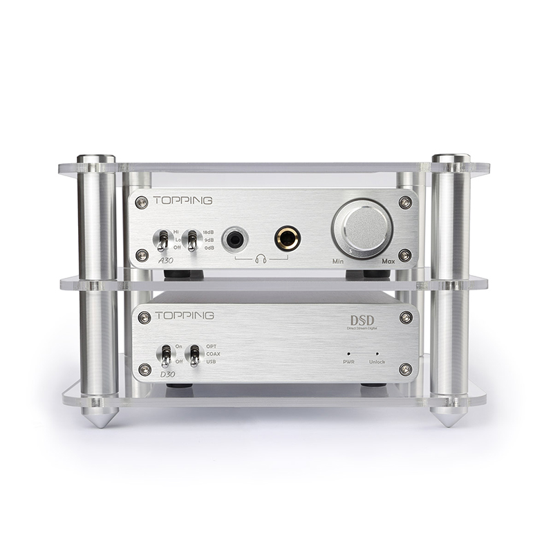 TOPPING A30+D30 Headphone Power Amplifier+Decoder Set Support DAC USB DAC/Optical Fiber/Coaxial Decoding XMOS+TPA6120 Silver New