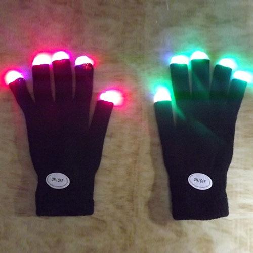 Newest LED Rave Flashing Gloves Glow 7 Mode Light Up Finger Lighting Black Gloves