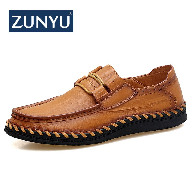 ZUNYU New Fashion Men Genuine Leather Casual Shoes Mens Lace Up Flats Spring Breathable Comfortable Handmade Moccasins Man Shoes