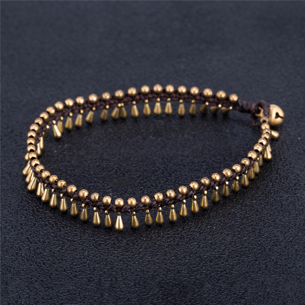 2018 Handmade Anklets For Women Hand-Woven Water Drop Shape Alloy Wax Rope Chain Bracelet Vintage Anklet Foot Chain On The Leg