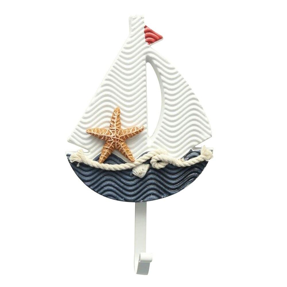 Вешалка для тапочек в форме лодки, украшение в виде рыбы, одежда для ванной, подвесное украшение для окна, гостиной, настенный крючок, средиземноморский - Цвет: sailing hook