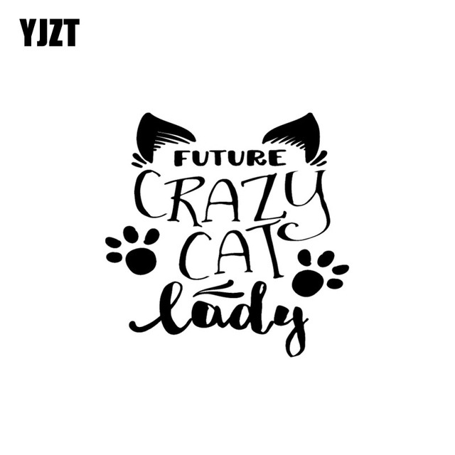 Yjzt 15cm15 2cm Future Crazy Cat Lady Vinyl Decal Funny Car Sticker