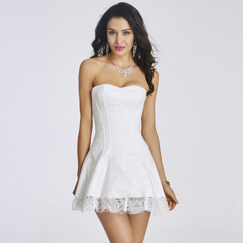be97dfe0607 Bridal Wedding Lingerie Striped   Floral Lace White Sexy Corset Dress  Gothic Clothing Victorian Burlesque Costumes