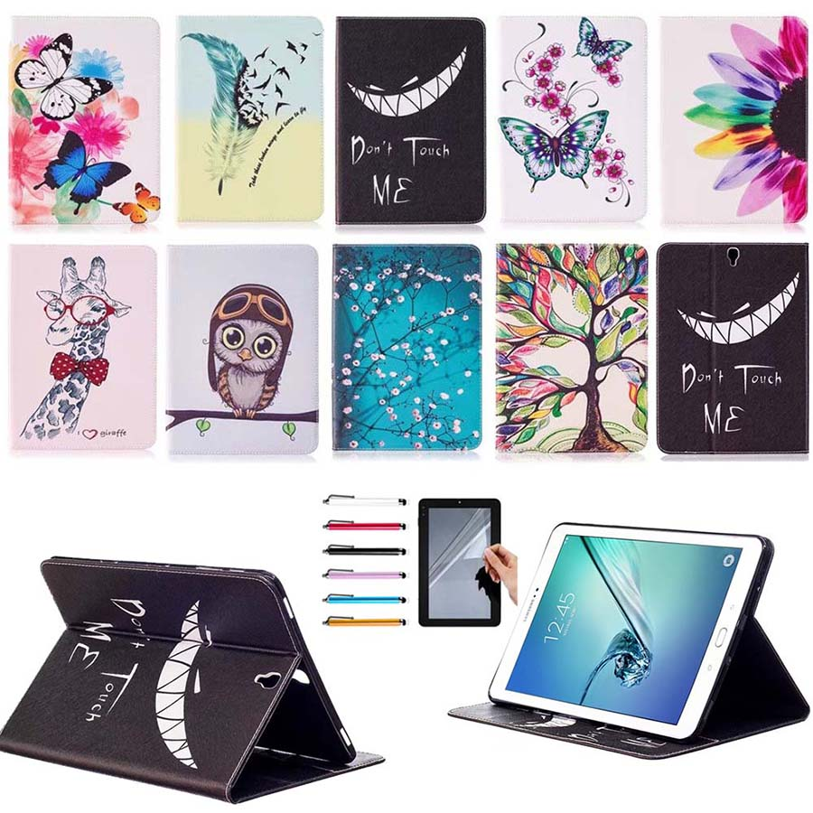 Printed Case For Samsung Galaxy Tab S3 9.7 inch SM T820 T825 Tablet Leather Flip Stand Case Card Slot Smart Cover Protect Skin