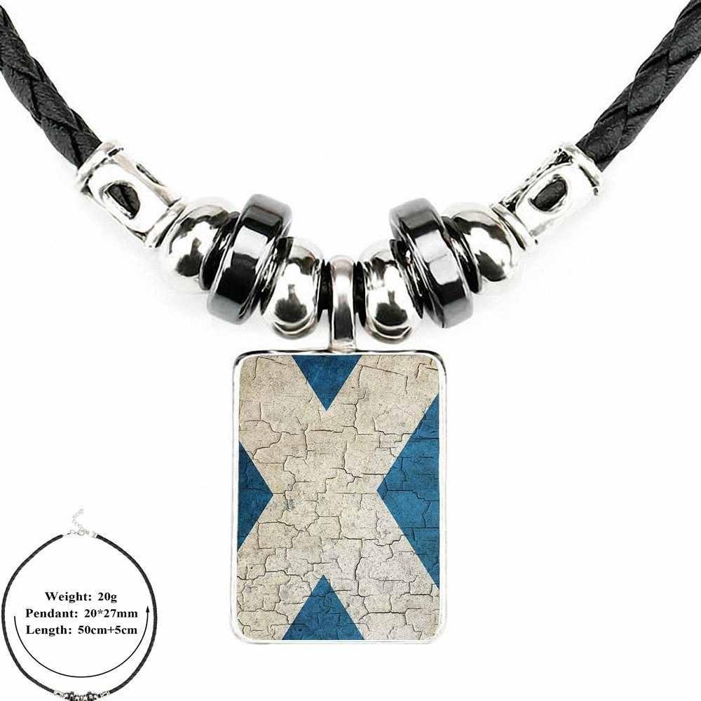 EJ глазурь для женщин Harajuku стиль ювелирные изделия черная кожаная подвеска-бусы покрытые стеклом кабошон колье ожерелье хороший Флаг Шотландии
