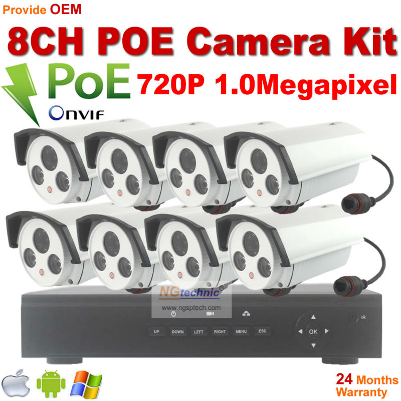2016 Sale 8CH Onvif Full HD 48V Real PoE 80-100m NVR Kits With 720P IP Cameras  P2P Cloud Service outdoor Waterproof IP Camera 2014 sale 4ch onvif full hd 48v real poe 80 100m nvr kits with 720p varifocal 2 8 12mm lens ip cameras p2p cloud service