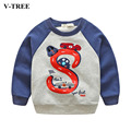 V-TREE 2017 Spring Children's T-shirts Casual Bottoming Shirt Children's Cotton Clothes Cartoon Tops For Boys Girls Tracksuits