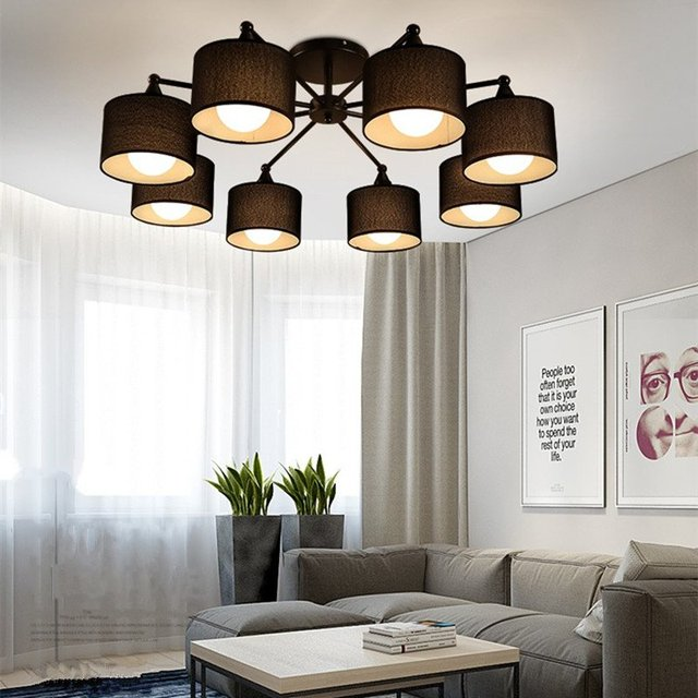 Nordic Simply Black/White Fabric Led Ceiling Light Art ...