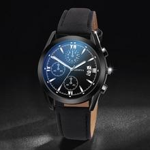 лучшая цена Quartz Luxury Luminous Men Business Watches Chronograph Wristwatch Leather Strap Male Clock Relogio Masculino Drop Shipping