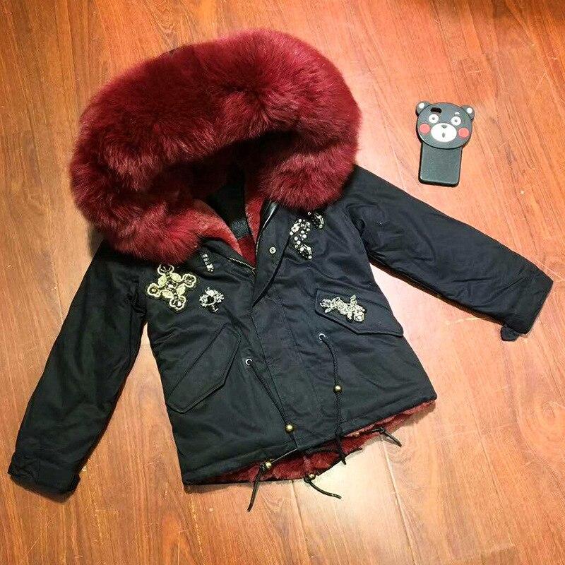JKP 2018 nouveau col en fourrure de renard d'hiver parka perlée noir épaissir manteau veste pour enfants mode enfants manteaux pour vêtements de dessus CT-52