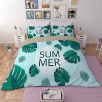 Summer Plantain leaves Bedding Set Queen King Size Duvet Cover Sets With Flat Sheet 3/4pcs Bed Linen pillowcase Soft Bedclothes