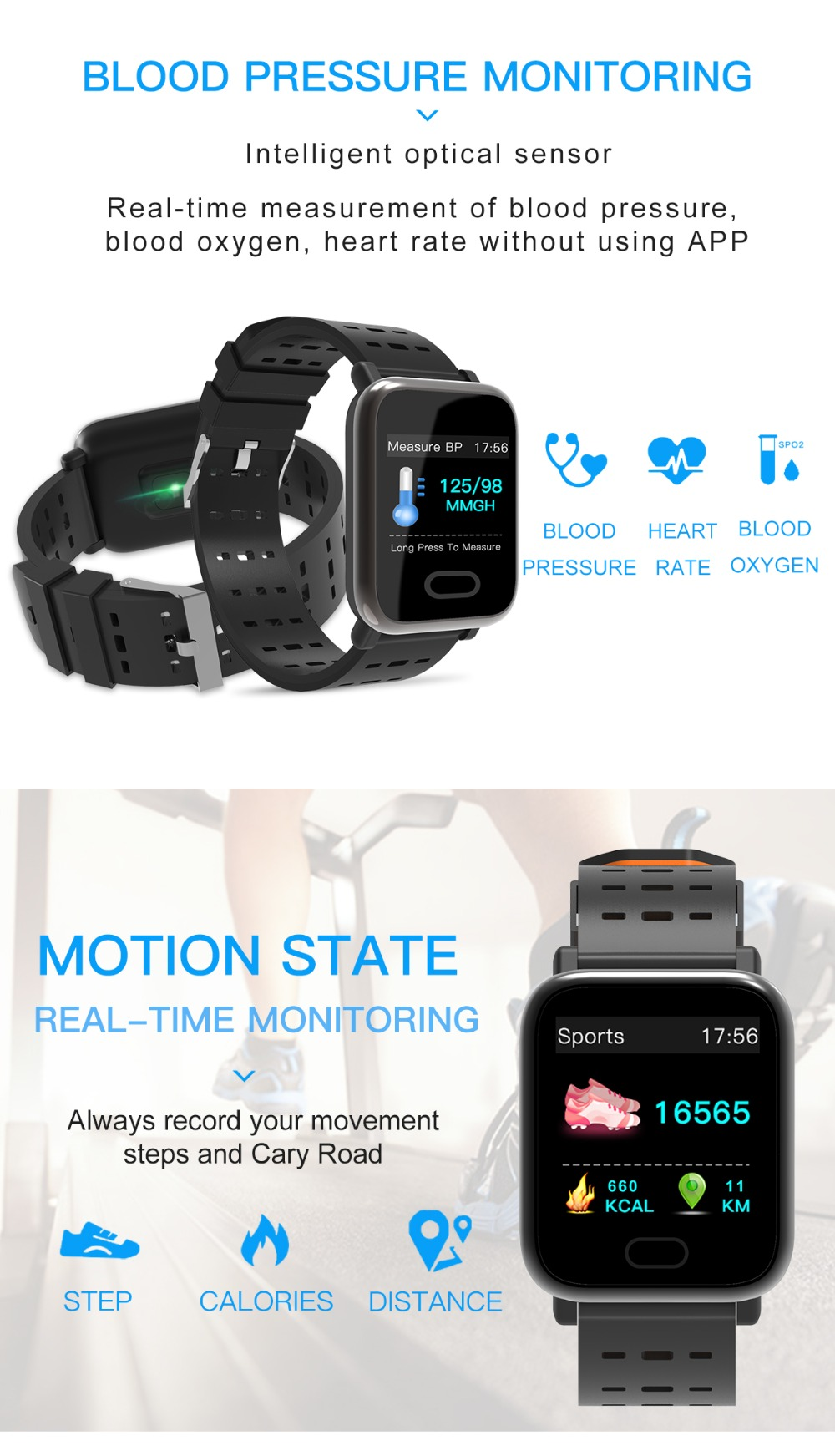 Wearpai bluetooth kids smart watch sport A6 fitness tracker men women heart rate Monitor watches for ios android waterproof ip67 6