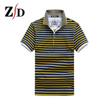 2016 new trend design males's short-sleeved striped polo shirt prime quality breathable cotton Slim informal Polo shirts 8629