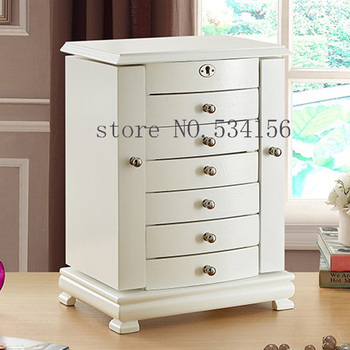 White Key-Locked Wooden Ring Jewelry Box Organizador