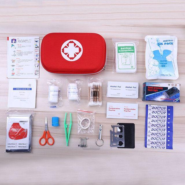 19 PCS de Haute Qualité En Plein Air Voyage First Aid kit Voiture Première l'aide Sac La Maison Petite Boîte Médicale D'urgence Survie Kit Taille 21*13*5.5 CM