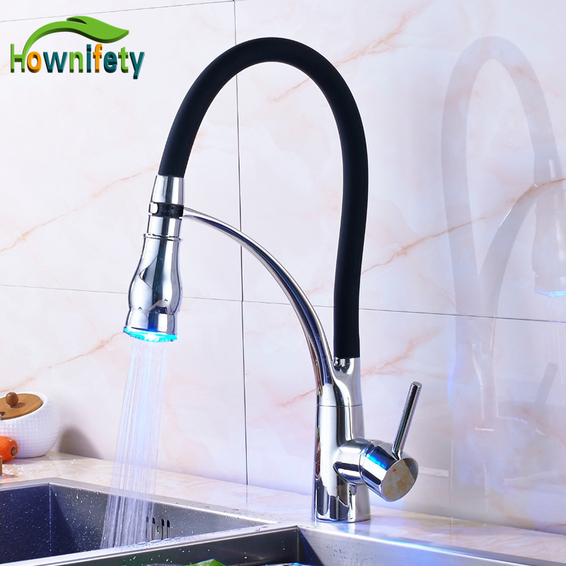 Chrome Solid Brass LED Kitchen Sink Faucet Single Handle Mixer Tap with 2 Ways Out Water Sprayer Countertop Mount free shipping high quality chrome brass kitchen faucet single handle sink mixer tap pull put sprayer swivel spout faucet