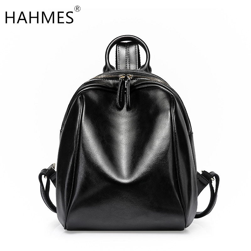 HAHMES 100% Genuine leather Women's backpack simple design casual day packs Travel Bags Cow leather School Bag 10870 hahmes 100