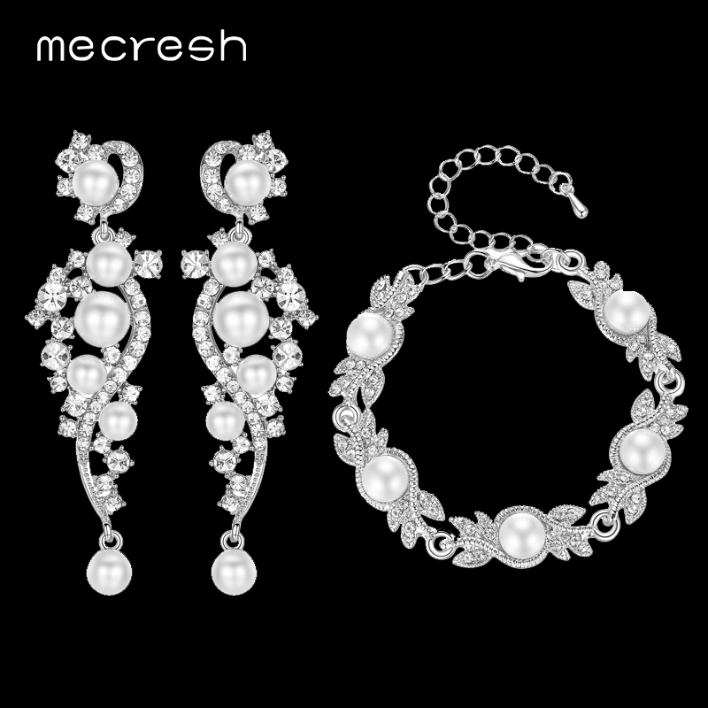 Mecresh 2017 Elegant Simulated Pearl Bridal Jewelry Sets Clear Crystal Bracelet Earrings Sets Wedding Jewelry MEH777+MSL197