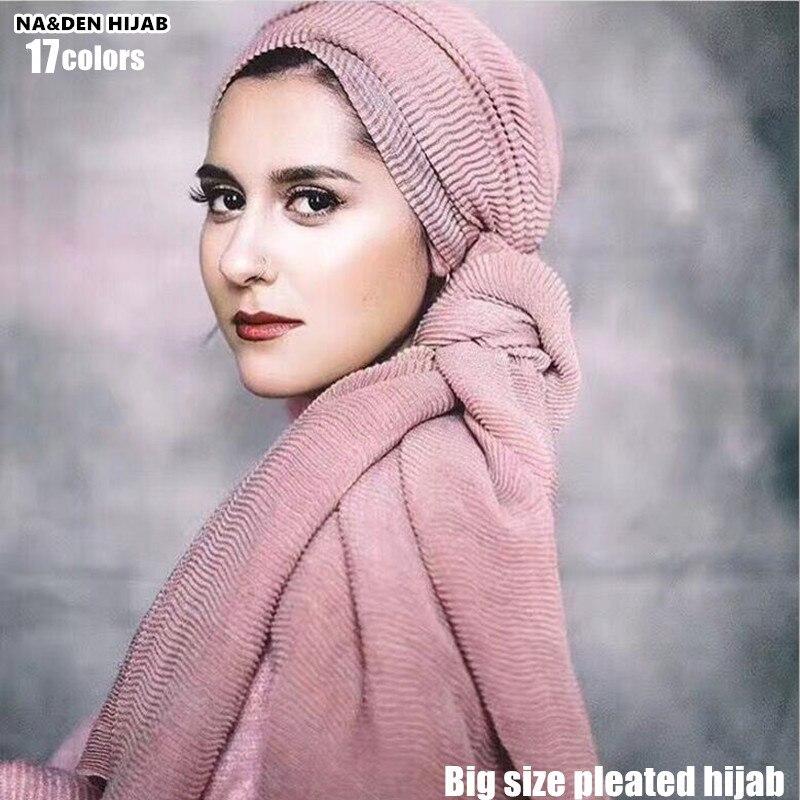 2019 big size pleated visose hijabs scarf elegant shawl plain maxi muslim hijab women wrinkle scarves